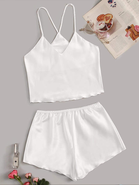 Emma Clothing Women S Satin Cami Top With Shorts PJ Set