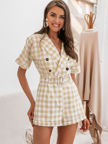 Emma Clothing Women S Simplee Adjustable Belted Gingham Cuffed Blazer Romper