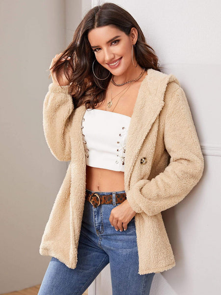 Emma Clothing Women S Solid Double Button Hooded Teddy Coat