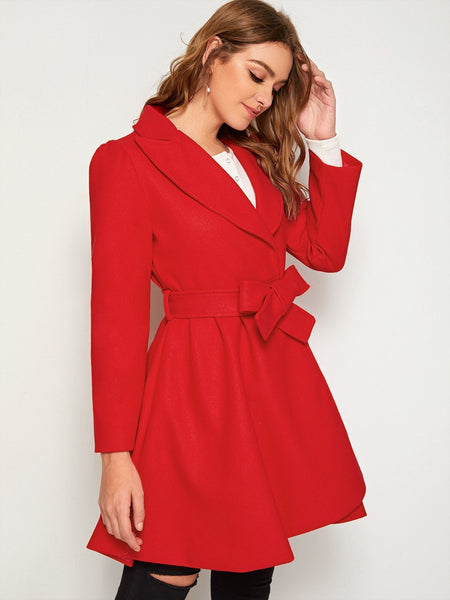 Emma Clothing Women S Solid Notched Neck Belted Wrap Hem Coat