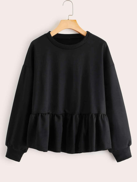 Emma Clothing Women S Solid Ruffle Hem Drop Shoulder Sweatshirt