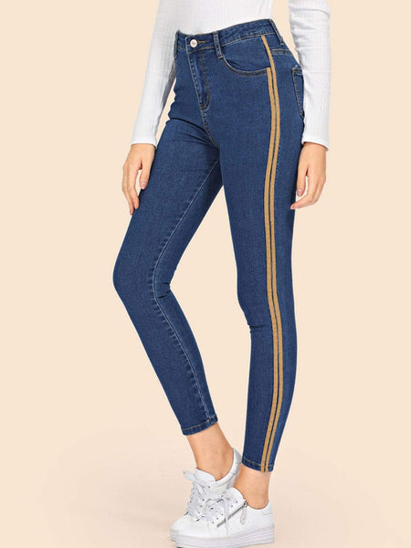 Emma Clothing Women S Stripe Contrast Ankle Jeans