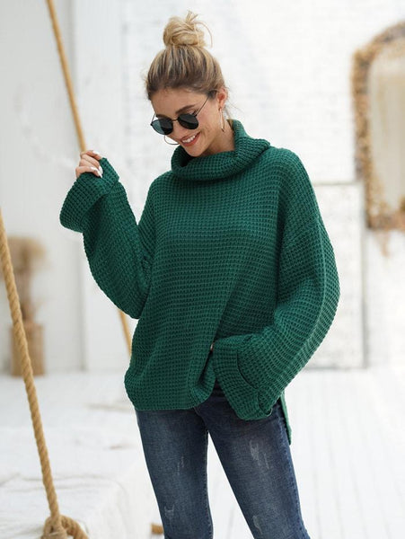 Emma Clothing Women S Waffle Knit High Neck Drop Shoulder Sweater