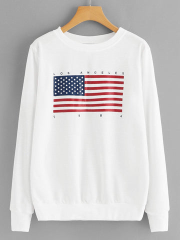 Emma Clothing Women XL American Flag Print Sweatshirt
