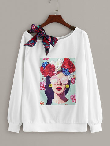 Emma Clothing Women XL Asymmetric Bow Neck Figure Graphic Sweatshirt