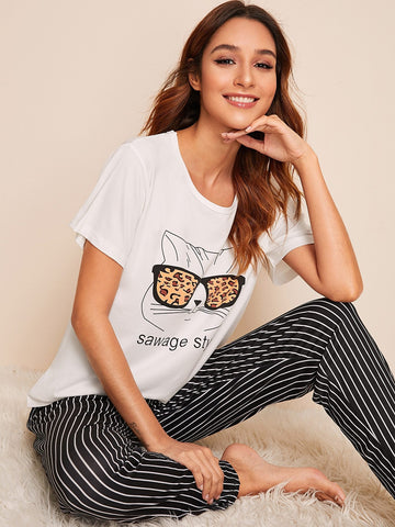 Emma Clothing Women XL Cat Print Top With Striped Pants PJ Set
