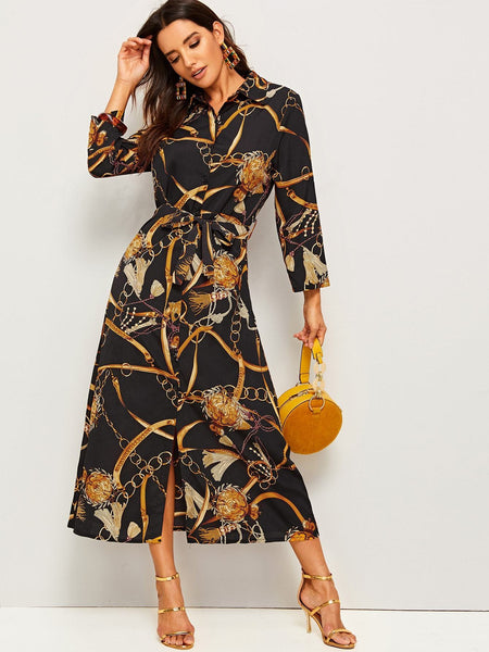 Emma Clothing Women XL Chain Print Waist Tie Shirt Dress