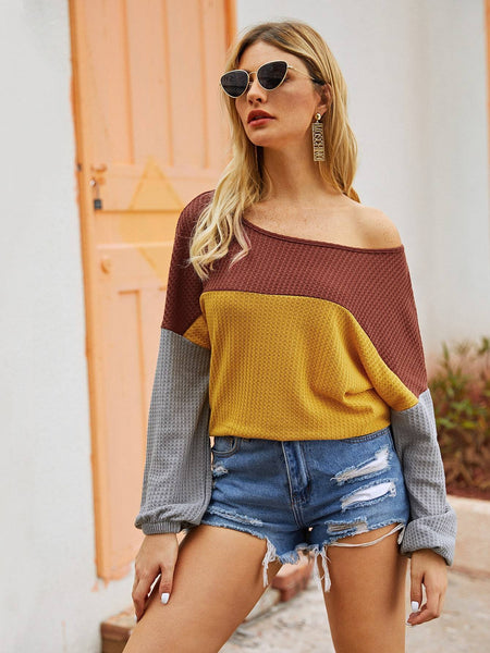 Emma Clothing Women XL Color-Block Boat Neck Oversized Sweater