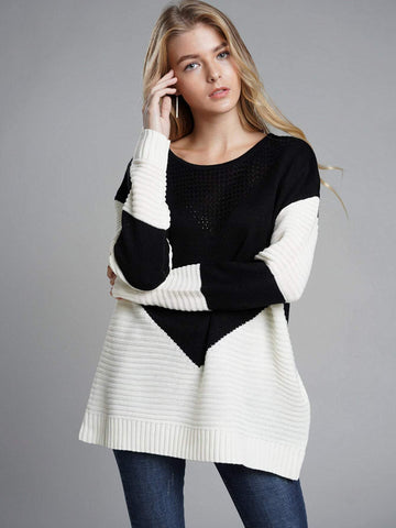 Emma Clothing Women XL Contrast Panel Ribbed Knit Sweater