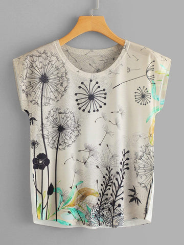 Emma Clothing Women XL Dandelion Print Dolman Sleeve Tee