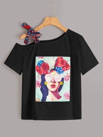 Emma Clothing Women XL Figure & Floral Graphic Asymmetrical Neck Tee