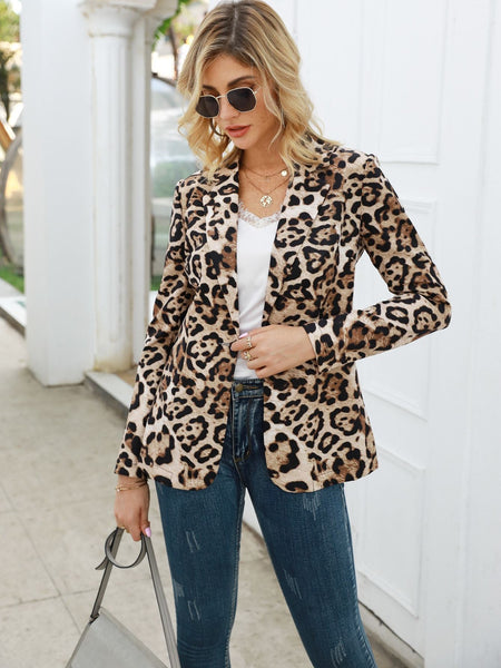 Emma Clothing Women XL Lapel Neck Leopard Print Blazer