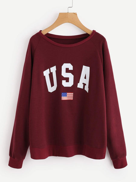 Emma Clothing Women XL Raglan Sleeve Letter Graphic Sweatshirt