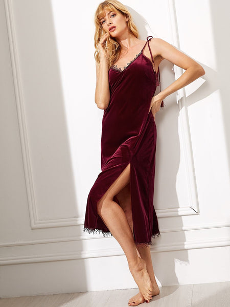 Emma Clothing Women XL Tassel Detail Slit Side Velvet Cami Dress