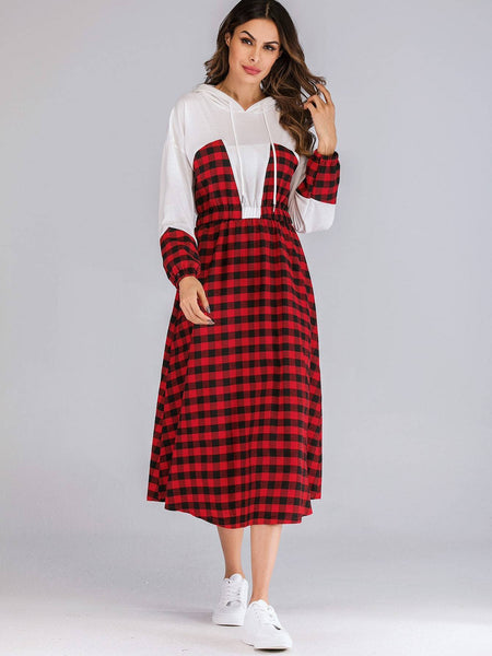 Emma Clothing Women XXL Gingham Print Bishop Sleeve Drawstring Hooded Dress
