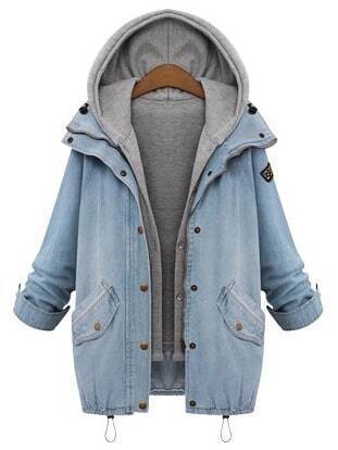 Emma Clothing Women XXXL Hooded Drawstring Boyfriend Trends Jean Swish Pockets Two Piece Coat