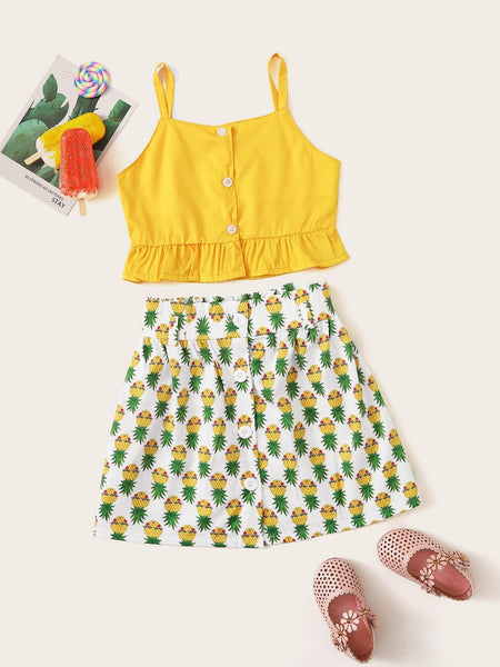 Emma Kids Kids 120 Toddler Girls Ruffle Hem Cami Top With Allover Pineapple Skirt
