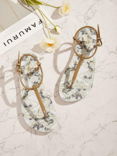 Emma Shoes Women EUR36 Marble Pattern T-Strap Sliders