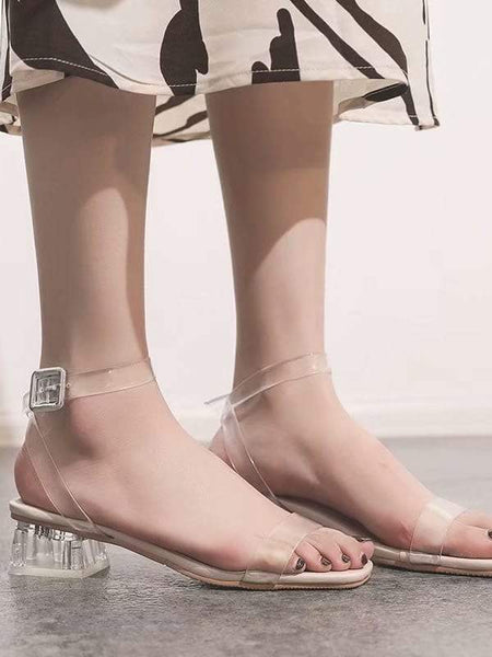 Emma Shoes Women EUR40 Clear Strap Block Heeled Sandals