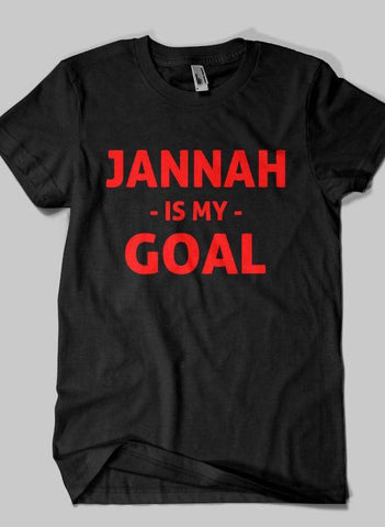 Fahad Khan T-shirt SMALL / Black JANNAH IS MY GOAL Islamic Half Sleeves T-shirt