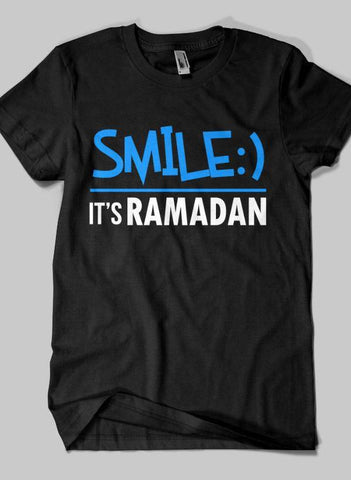 Fahad Khan T-shirt SMALL / Black SMILE IT'S RAMADAN Islamic Half Sleeves T-shirt