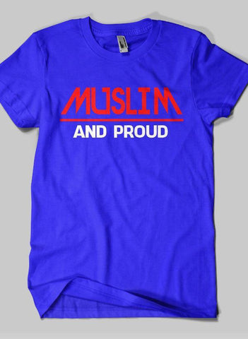 Fahad Khan T-shirt SMALL / Blue Muslim And Proud Islamic Half Sleeves T-shirt