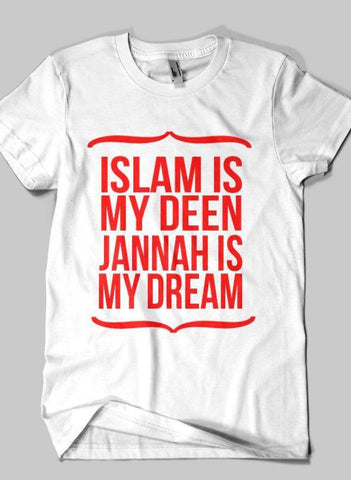 Fahad Khan T-shirt SMALL / White DEEN & JANNAH Islamic Half Sleeves T-shirt