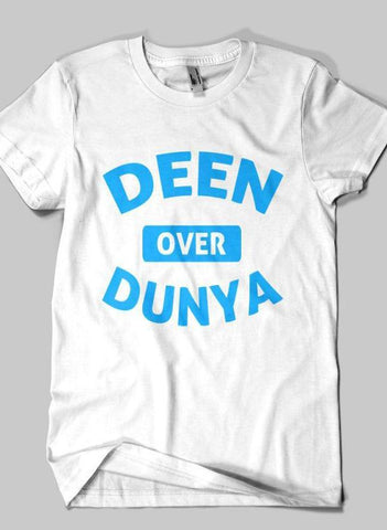 Fahad Khan T-shirt SMALL / White DEEN OVER DUNYA Islamic Half Sleeves T-shirt