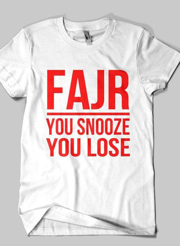Fahad Khan T-shirt SMALL / White FAJR Islamic Half Sleeves T-shirt