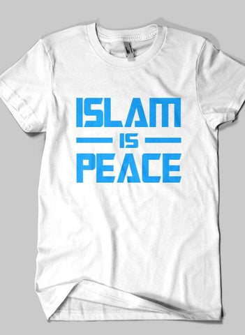 Fahad Khan T-shirt SMALL / White ISLAM IS PEACE Islamic Half Sleeves T-shirt