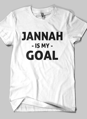 Fahad Khan T-shirt SMALL / White JANNAH IS MY GOAL Islamic Half Sleeves T-shirt