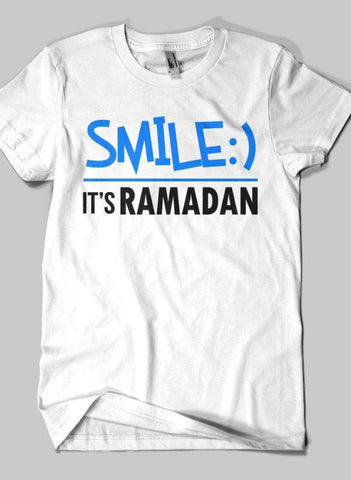 36b76dd4 Fahad Khan T-shirt SMALL / White SMILE IT'S RAMADAN Islamic Half Sleeves T-  ...