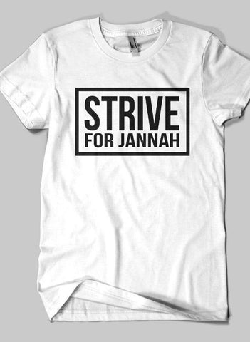 Fahad Khan T-shirt SMALL / White STRIVE FOR JANNAH Islamic Half Sleeves T-shirt