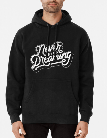 Farhan Ahmed Hoodie Entrepreneur graphic Never Stop Dreaming Distressed Vintage Hoodie Black