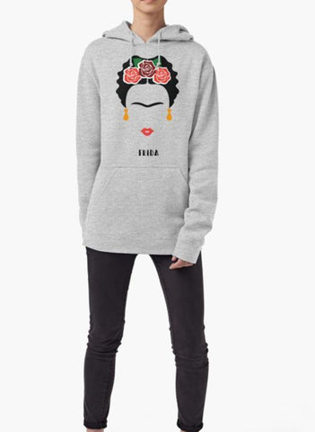 Farhan Ahmed Sweat Shirt Frida Khalo Face WOMEN HOODIE GRAY