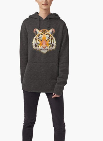 Farhan Ahmed Sweat Shirt Tiger Animals Gift WOMEN HOODIE GRAY