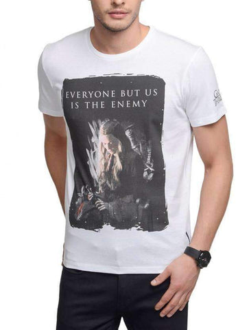 Game of Thrones T-SHIRT Game Of Thrones Who Is The Enemy White Half Sleeve Men T-Shirt