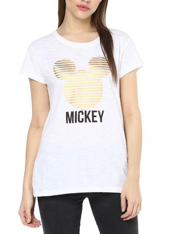 Game of Thrones T-SHIRT Mickey & Friends Glitzy Mickey White Half Sleeve Women Foil Print T-Shirt