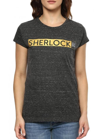 Game of Thrones T-SHIRT Sherlock Get Locked Black Half Sleeve Women Foil Print T-Shirt