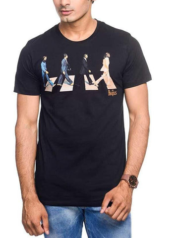 Green Chilli T-SHIRT The Beatles Abbey Road Art Black Half Sleeve Men T-Shirt