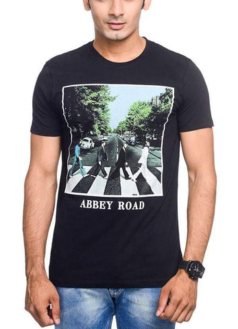 Green Chilli T-SHIRT The Beatles Iconic Abbey Road Black Half Sleeve Men T-Shirt