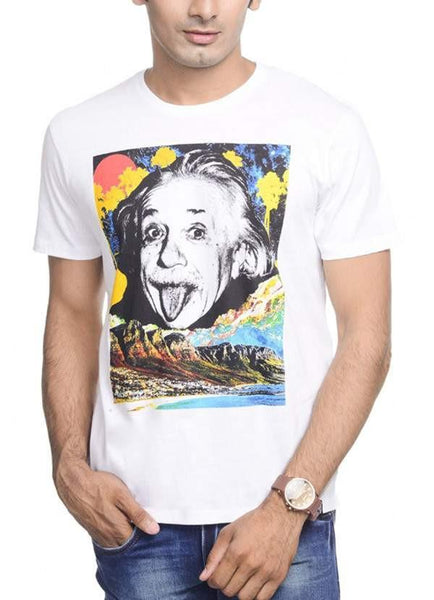 Hasan Ali T-SHIRT Einstein The World As I See White Half Sleeve Men T-Shirt