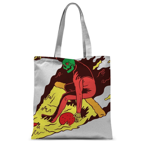 "Hassan Shiekh tote bag 15""x16.5"" Pizza Surf  Sublimation Tote Bag"