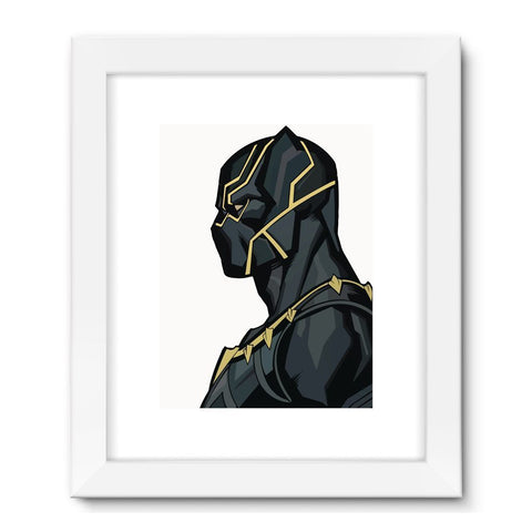 "Hassan Shiekh Wall Frames 18""x24"" / White Black Panther By Hassan Sheikh Framed Fine Art Print"