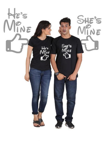 HUM TUM T-SHIRT He is Mine, She is Mine (Classic) Classic Couple T-Shirt