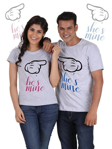HUM TUM T-SHIRT He is Mine, She is Mine Couple T-Shirts