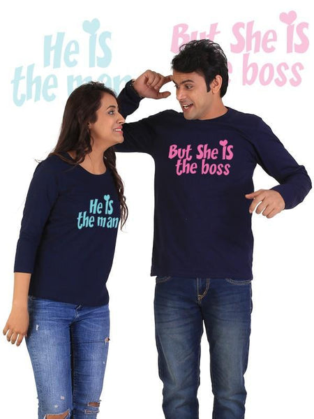 HUM TUM T-SHIRT He is the Man, She is the Boss Couple Full Sleeves Navy Blue