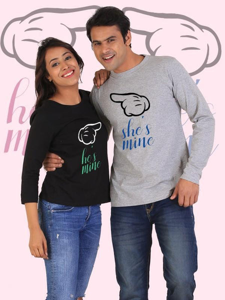 HUM TUM T-SHIRT He's Mine, She's Mine Couple Full Sleeves