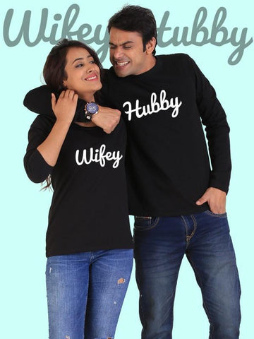 HUM TUM T-SHIRT Hubby Wifey Couple Full Sleeves Black