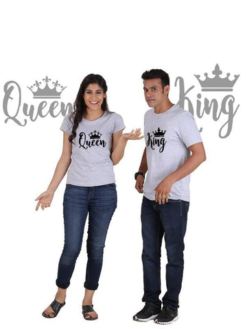 HUM TUM T-SHIRT King and Queen with Crown (Classic) Classic Couple T-Shirt